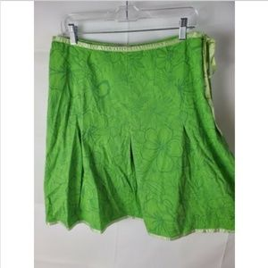 St Johns Bay Green Sz 12 Stretch Skirt Floral